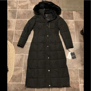 Dkny Maxi Down With Faux Fur Hood Coat Donna Karen